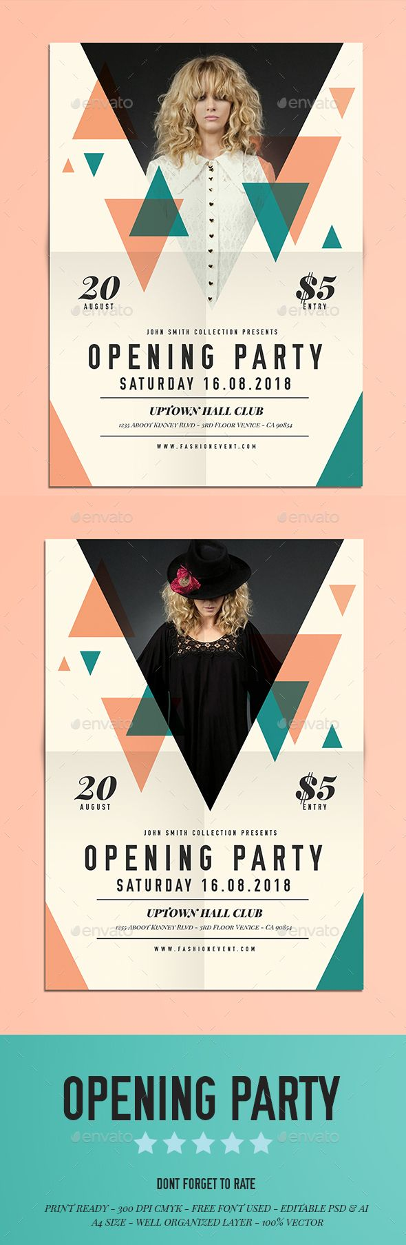 PSD Opening Party Flyer Template • Only available here ➝ http://graphicriver.net/item/opening-party-flyer/16338279?ref=pxcr