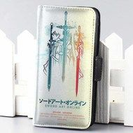 Sword Art Online 2 anime wallet case for iphone 4,4s,5,5s,5c,6 and samsung galaxy s3,s4,s5