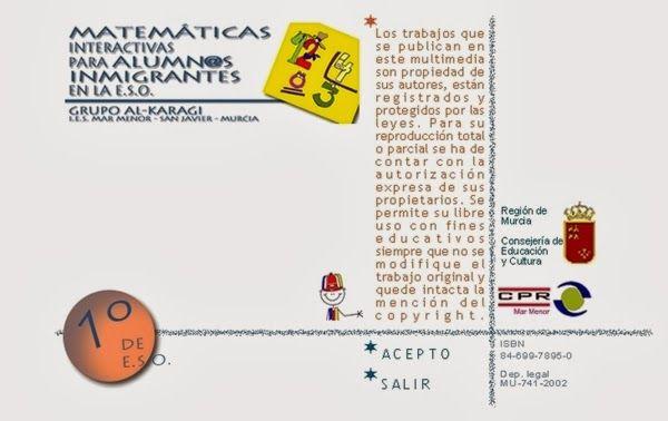 """""""Matemáticas Interactivas para alumnos Inmigrantes en la ESO"""", para 1º Nivel de Educación Secundaria Obligatoria, constituye un programa de unidades didácticas en las que se incluyen exposiciones y actividades interactivas. Material valioso tanto para alumnos inmigrantes como para alumnos ordinarios."""