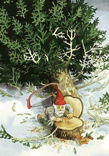 Skrivuppgift. Vad ska tomten göra med trädet?