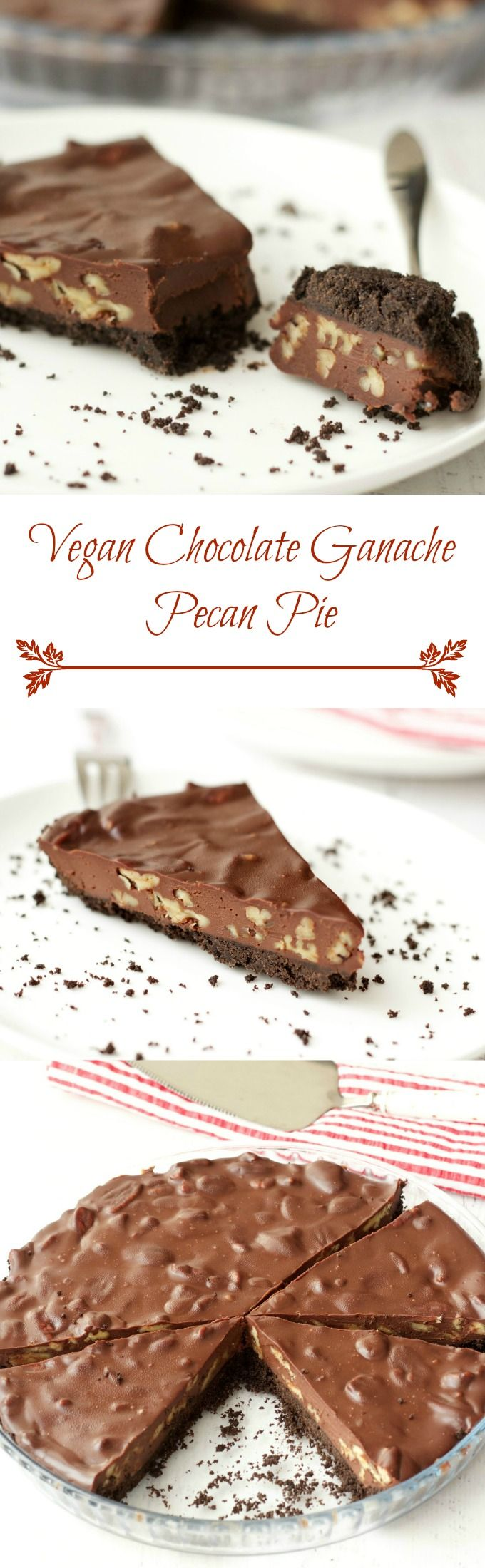 Vegan Chocolate Pecan Pie // oreos, vegan butter, vegan dark chocolate, coconut cream, pecans