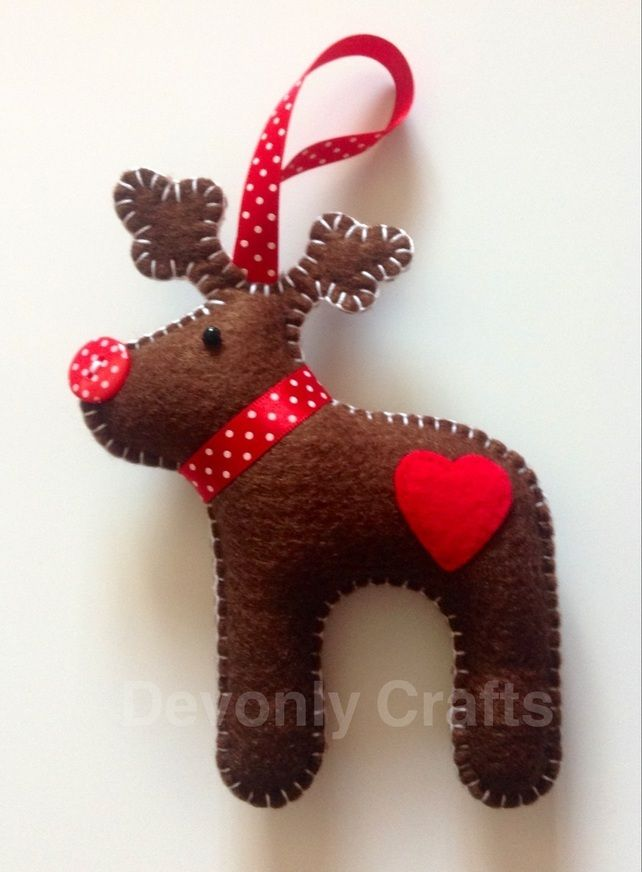 Hand Stitched Felt Reindeer Christmas Decoration