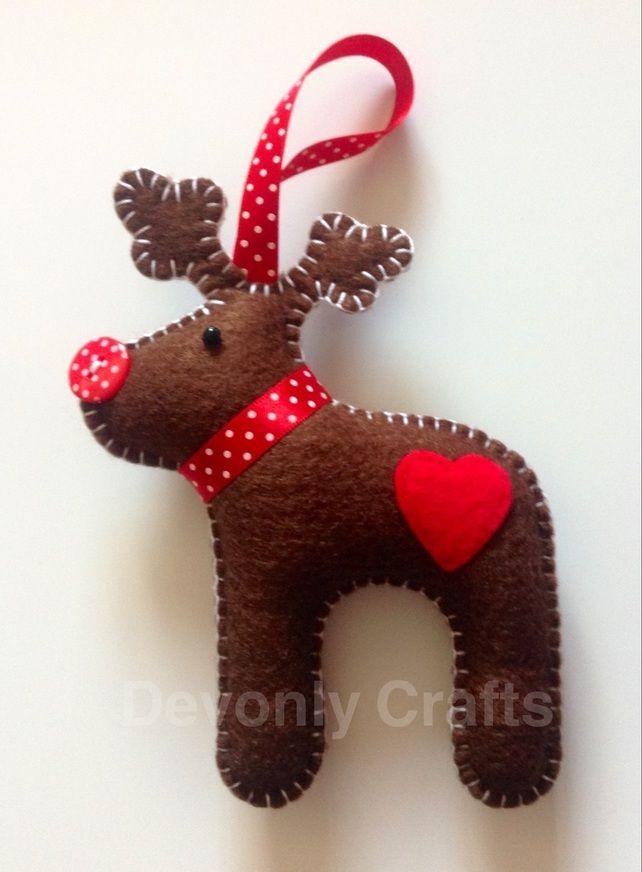 Hand Stitched Felt Reindeer Christmas Decoration
