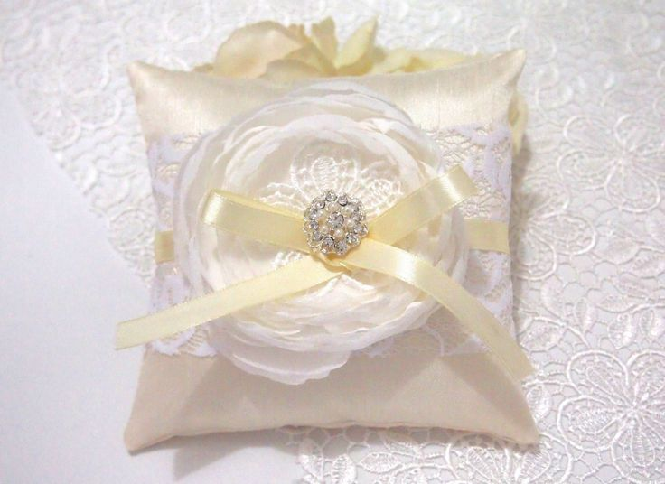 Made to Order. USD 30. Ship within 5-7 days. Shipped Worldwide.  #weddingring #ringpillow #lace #flower #rhinestones #wedding #wedding accessories #yellow #ribbon #RingPillow  #ringpillow #pastelyellow #weddinggift #weddingring #brides #holymatrimony #flowerringpillow #handmade