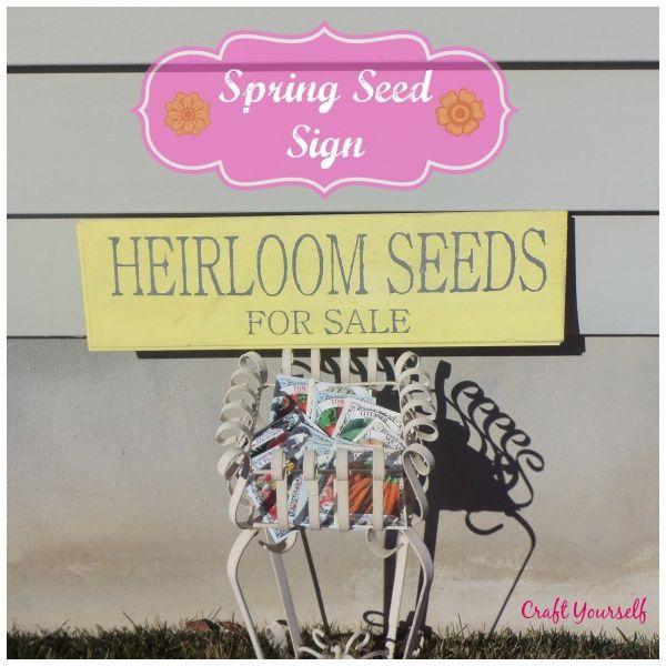Spring Seeds for sale sign - craftyourself.com
