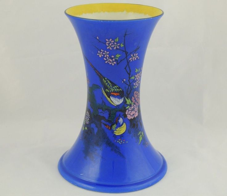 Gorgeous Vintage Art Deco Shelley England Blue Vase with Colorful Flowers Birds