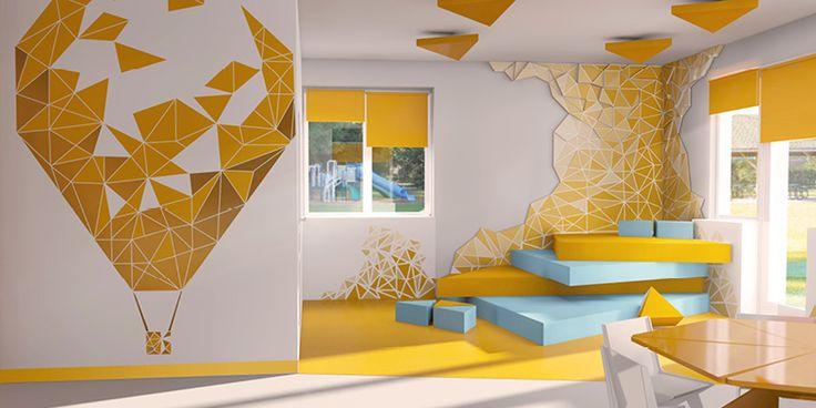 Zadanie projektowe dotyczyło wykonania aranżacji wnętrza przedszkola. Projekt charakteryzuje się nowoczesną formą sprowadzoną do prostych geometrycznych form. W projekcie dominuje ograniczona kolorystyka, zastosowaliśmy pomarańcz oraz kolor niebieski. Dzięki prostemu rozwiązaniu i zastosowaniem kilku ograniczeń – uzyskaliśmy przestrzeń, która rozbudza dziecięcą wyobraźnię i kształtuje wizualną wrażliwość. Przestrzeń – nie przytłacza nadmiarem kolorów, kształtów oraz kreskówkowych postaci.
