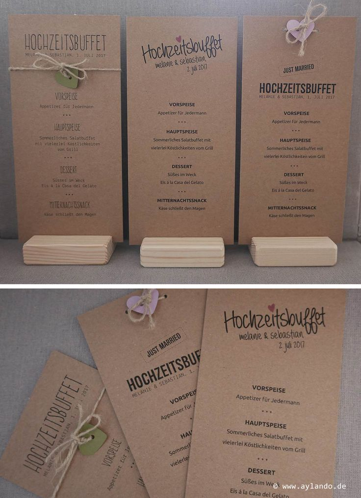 Menükarte Kraftpapier / Rustic Kraft wedding menu card