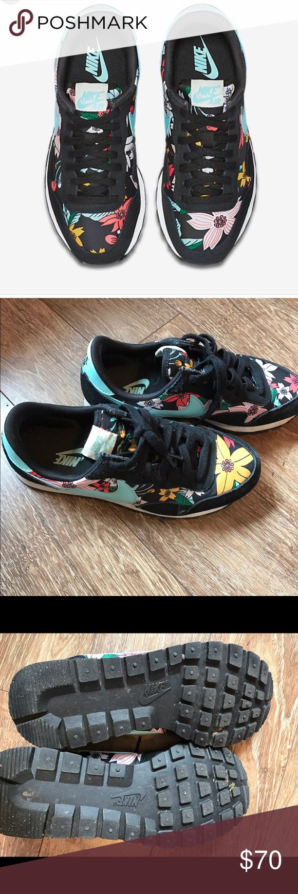 Women's Nike Air Pegasus '83 flower print sneakers Cute floral print Nike sneakers. Incredibly cute and of course, so comfy. Suede black accents with nylon floral design. You will get all the compliments with these lovelies ❤️️ Nike Shoes Sneakers