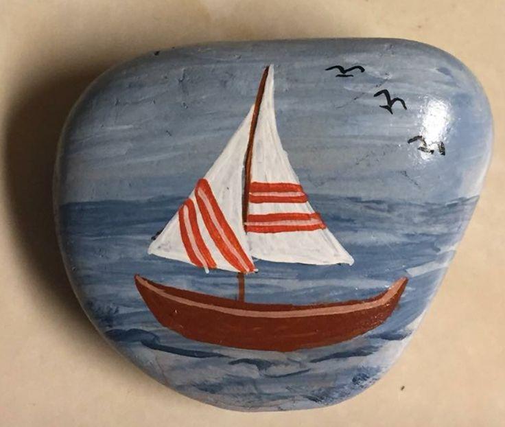 Sailboat painted rock