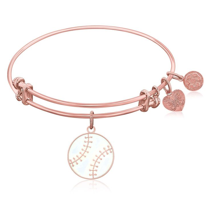 Expandable Bangle in Pink Tone Brass with Baseball Symbol