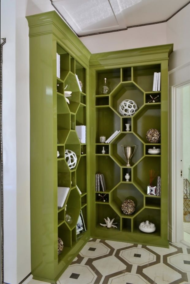 Bridget Beari bookcases in Fine Paints of Europe's Dill Pickle. This bookcase was featuredin the upstairs hall at the 2012 Richmond Symphony Designer House, Pinifer Park. Susan Jameison of Bridget Beari is so talented, and this back hall piece was a true stunner.