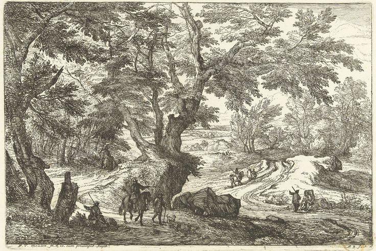 Adriaen Frans Boudewyns | Landschap met ruiters en wandelaars op een weg, Adriaen Frans Boudewyns, Adam Frans van der Meulen, Lodewijk XIV (koning van Frankrijk), 1666 - 1681 |