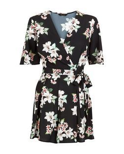Black Floral Print Wrap Front Wide Sleeve Playsuit  | New Look