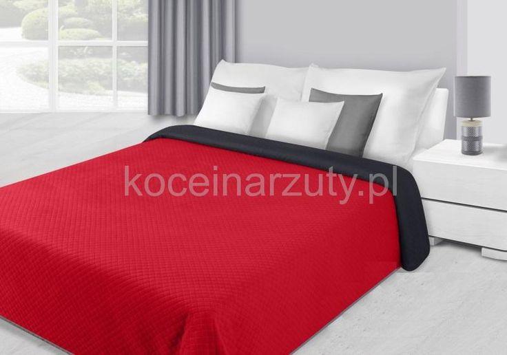 Dwustronna czerwona pluszowa narzuta na łóżko