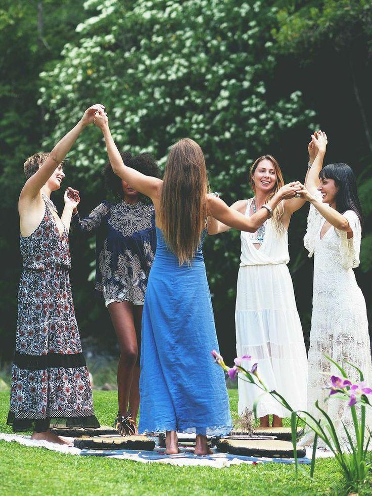 Women dancing in nature