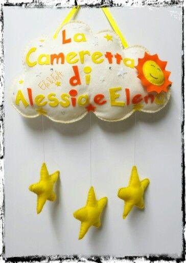 Name banner, nuvoletta personalizzata in feltro e pannolenci - Ele&Felt
