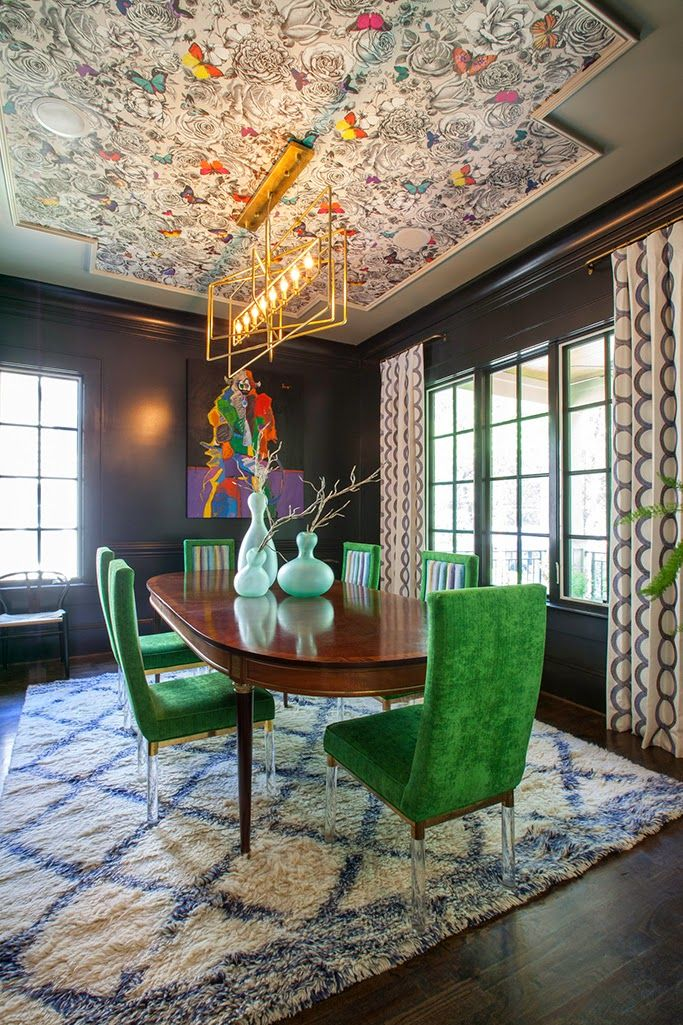 Wallpaper ceiling panel. Butterfly Garden wallpaper from Verdanta by O&L. Stunning work by Lucy and Company.