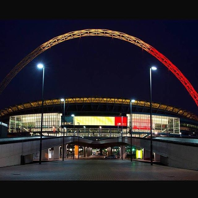 Wembley stadium showing the Belgium colours tonight.