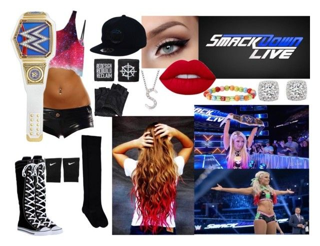 """SmackDown LIVE- March 28, 2017, Becky Lynch & Mickie James vs. Beth Brown & Carmella"" by wrestlingloversethrollins ❤ liked on Polyvore featuring Karl Lagerfeld, MINKPINK, Bloomingdale's, WWE, Lime Crime, NIKE and Ross-Simons"