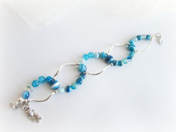 Agate beaded bracelet gemstone beaded by MalinaCapricciosa on Etsy