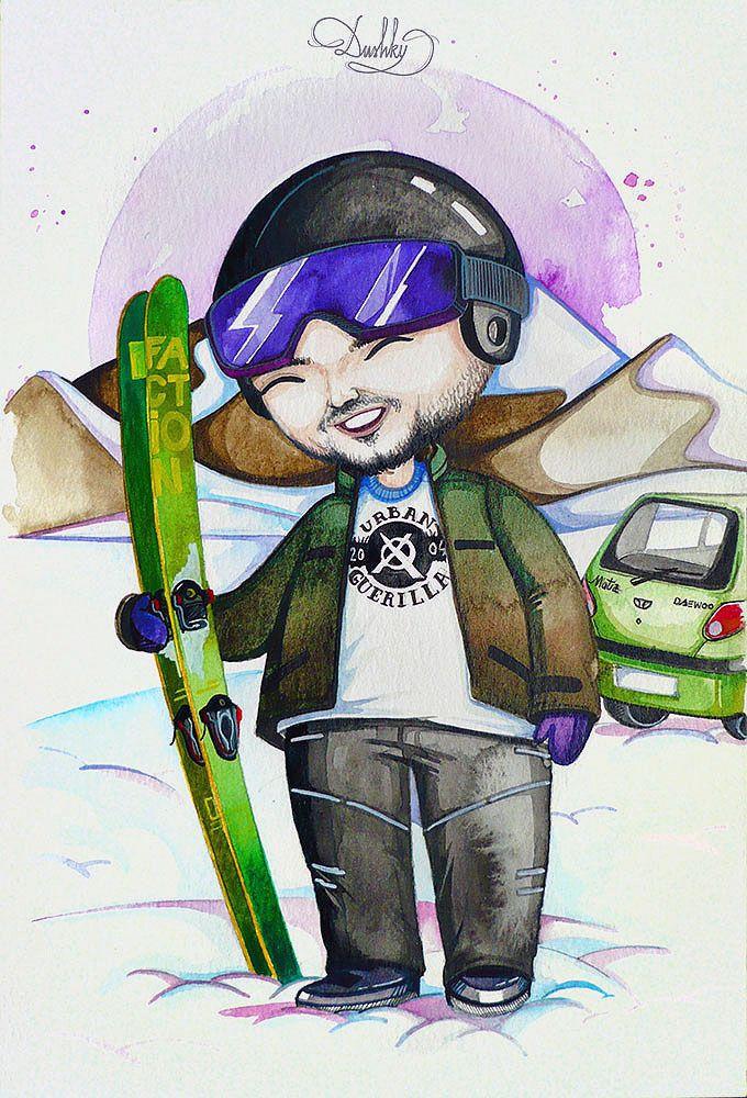 portrait by #dushky | #art #illustration #painting #watercolor #portrait #cute #bobblehead #boy #ski #winter