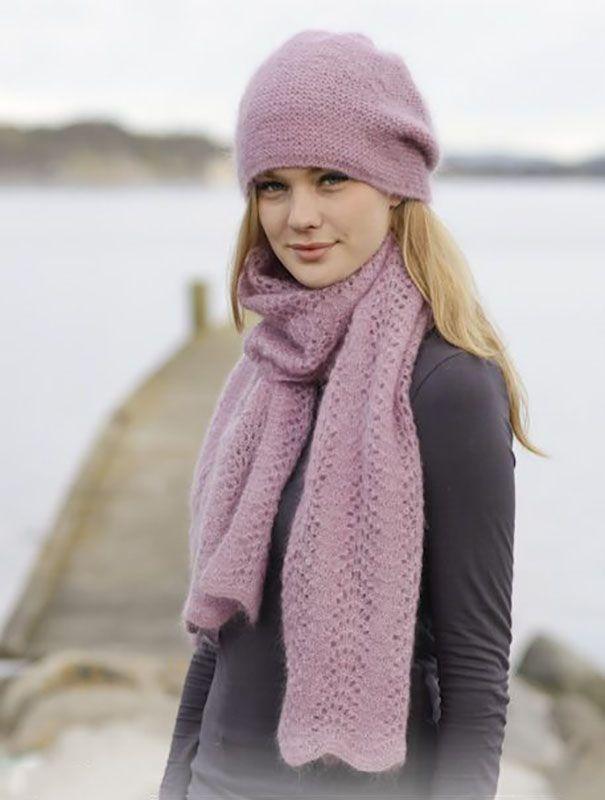 Шапка и шарф спицами нежно-розового цвета