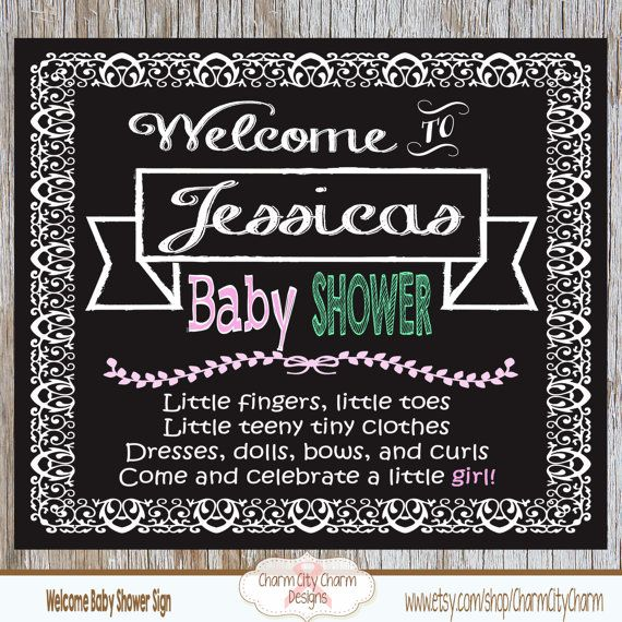 Welcome Baby Shower Chalkboard Sign Baby Girl by charmcitycharm