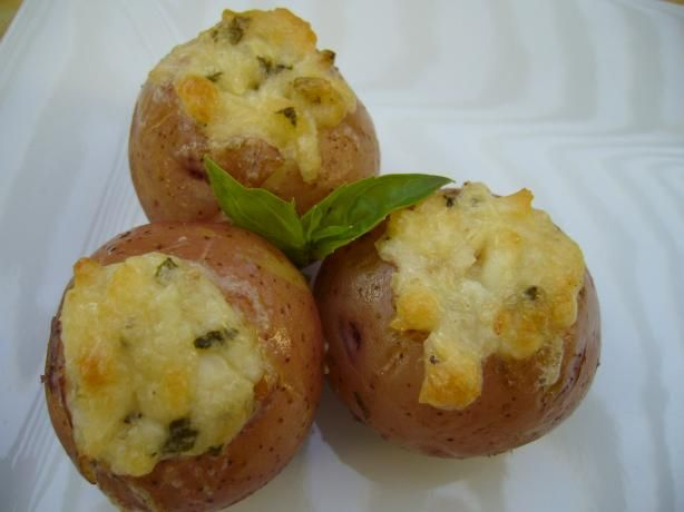Asiago Stuffed Potatoes   These are so incredibly addictive  If you have a very small scoop use that to core the potatoes   and as your guide when picking the right sized potatoes
