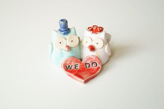 Wedding Cake Topper Cake Topper Owl Cake Topper Owl by HerMoments