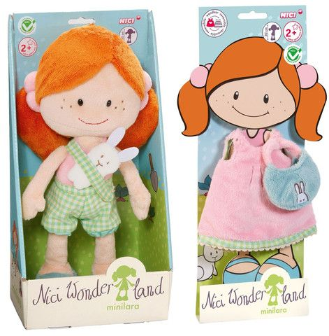 "Nici Wonderland MiniLara 12"" Machine Washable Plush Doll with Dress and Purse"