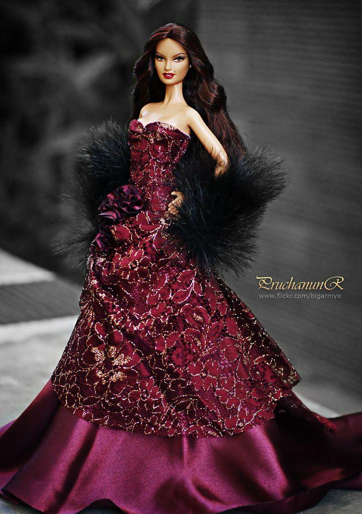 Barbie nights in maroon satin