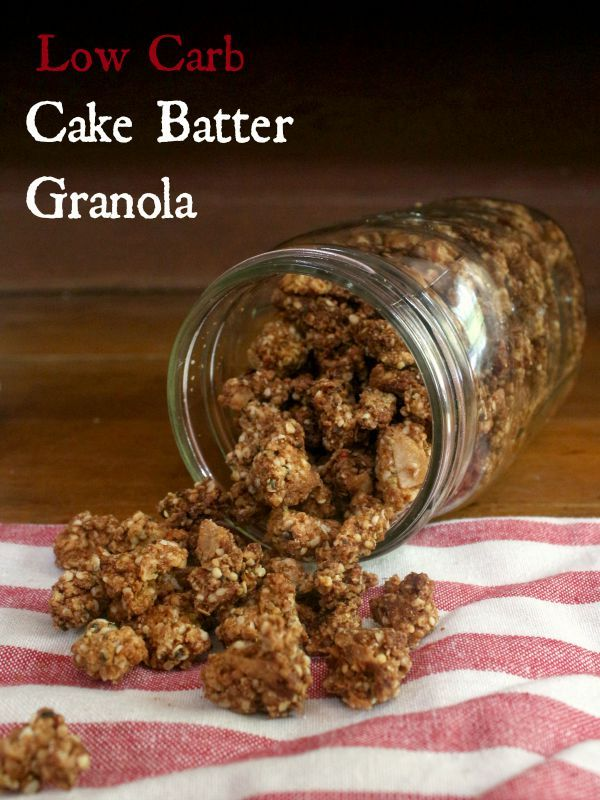 low carb cake batter granola is sweet with lots of that cake batter flavor plus it stays crunchy in milk and has just 3.5 net carbs per serving.  From lowcarb-ology.com