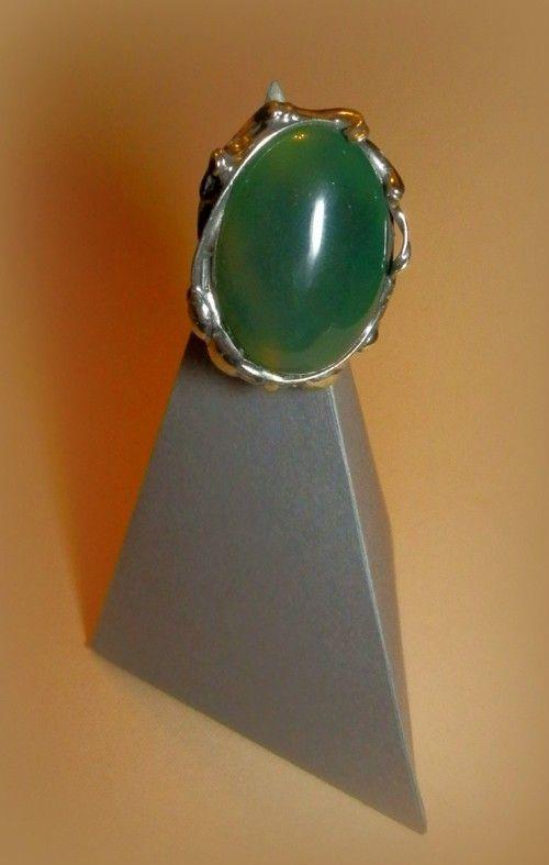 http://megasilver.pl/Pierscionek-p302 #ring #metalwork #handmade #green #agate #stone #jewelry #jewellery