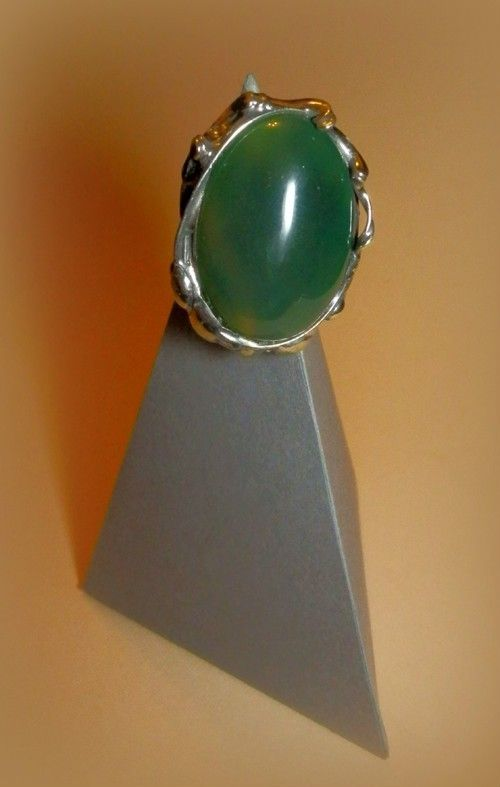 http://megasilver.pl/Pierscionek-p302 #ring #metalwork #handmade #green #agate #stone #jewelry #jewellery