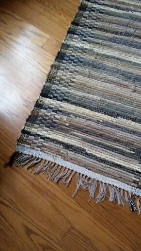 Handwoven Rag Rug Woven From Upholstery Fabric Remnants
