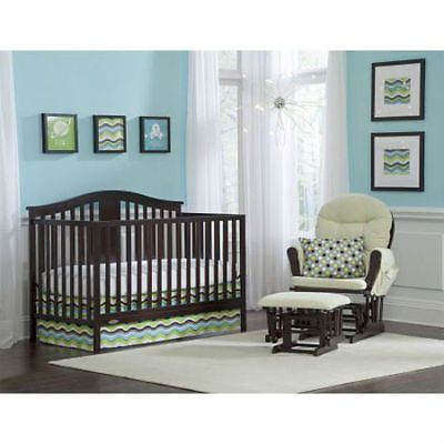 Baby Nursery: Convertible Crib 4-In-1 And Mattress Nursery Crib Espresso Baby Toddler Furniture BUY IT NOW ONLY: $209.99