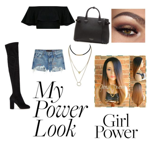"""My Power Look"" by gavanloud ❤ liked on Polyvore featuring T By Alexander Wang, Dolce&Gabbana, Burberry, shorts, Kneehighboots, offshoulder and MyPowerLook"