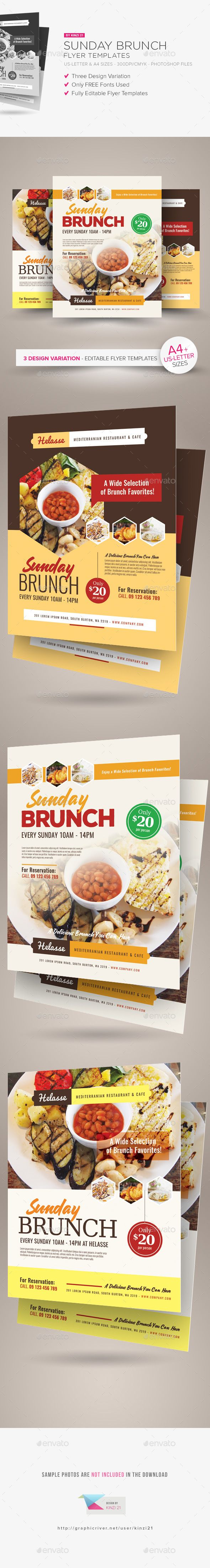 Sunday Brunch Flyer Templates — Photoshop PSD #flyer #poster • Available here → https://graphicriver.net/item/sunday-brunch-flyer-templates/15800708?ref=pxcr