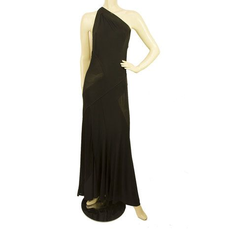 DKNY Donna Karan Black One Shoulder Sheer Paneled Maxi Dress sz UK 12