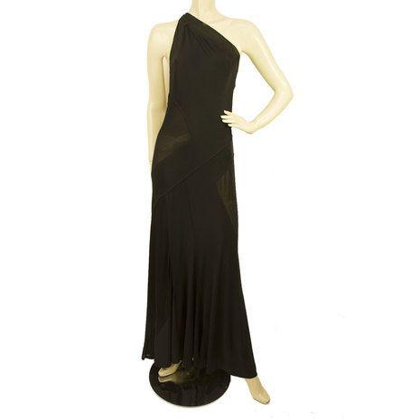 DKNY Donna Karan Black One Shoulder Sheer Paneled Maxi Dress sz UK 12
