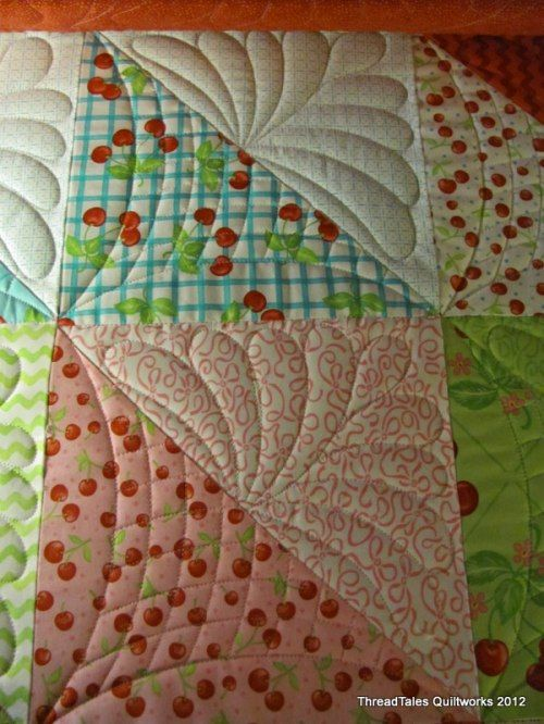 Great machine quilting idea for half square triangles.