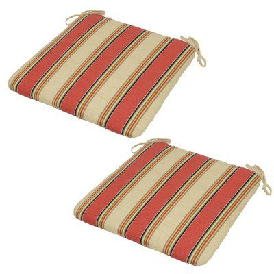 Plantation Patterns Sanibel Stripe Seat Pad Outdoor Chair Cushion (Set Of 2)