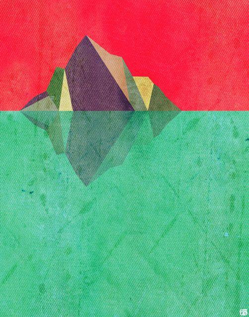 Iceberg Geometric Nature Inspired 8X10 Art Print by thepairabirds, $20.00