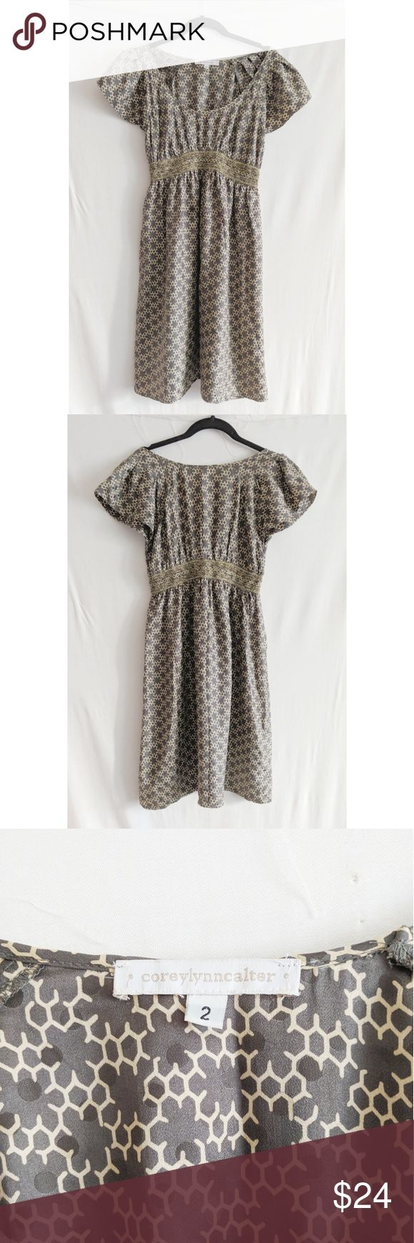 Anthropologie - Dress Silk Printed Dress - Cap sleeves - Scoop neck - Gold metallic, elastic waistband. - Lightweight - Work Wear  100% silk  Size on tag: 2  Excellent Condition  Measured flat in inches Armpit to armpit 17 Waist 13 Hem 26 Height 37 Anthropologie Dresses