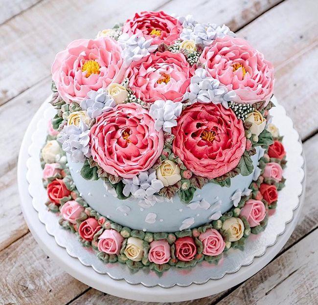 Невероятно красивые весенние торты-цветы (35 фото) в 2019 ...