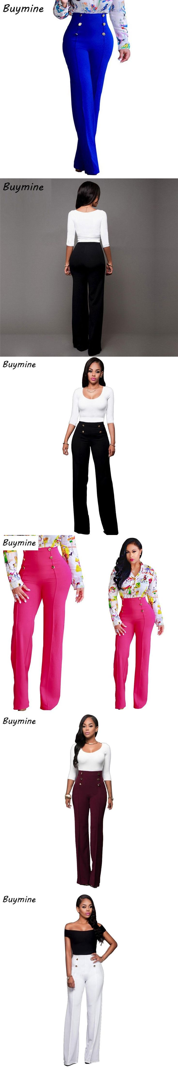 Fashion Flare Pants Women 2017 High Waist Black Trousers Front Button Brief Ladies Pants OL Elegant Pants Summer Pencil Trousers