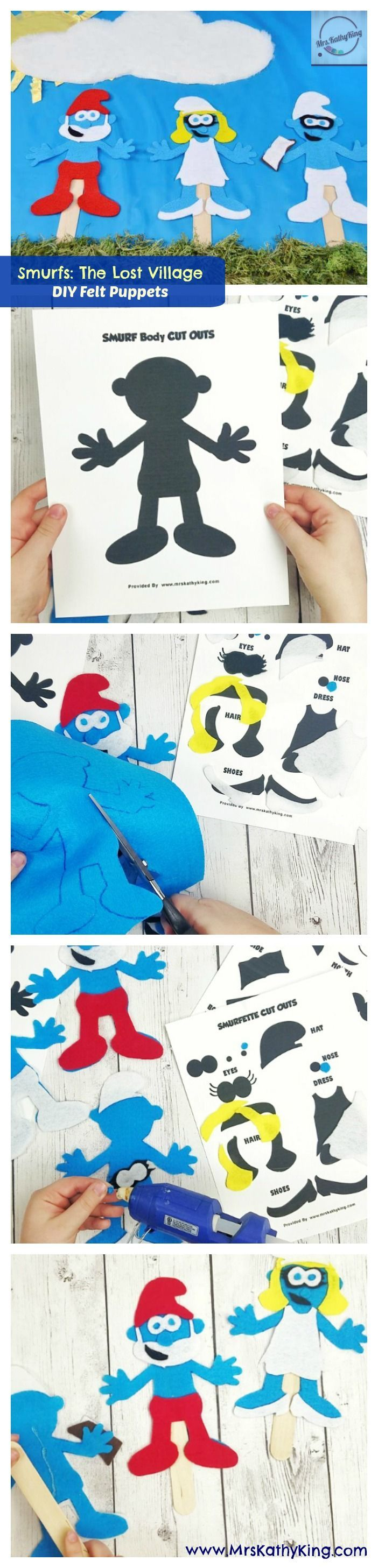 DIY felt Smurfs puppets | SMURFS: THE LOST VILLAGE hits theaters on April 7! Get in the mood for an opening day screening with this fun Smurfs kids craft by @MrsKathyKing!
