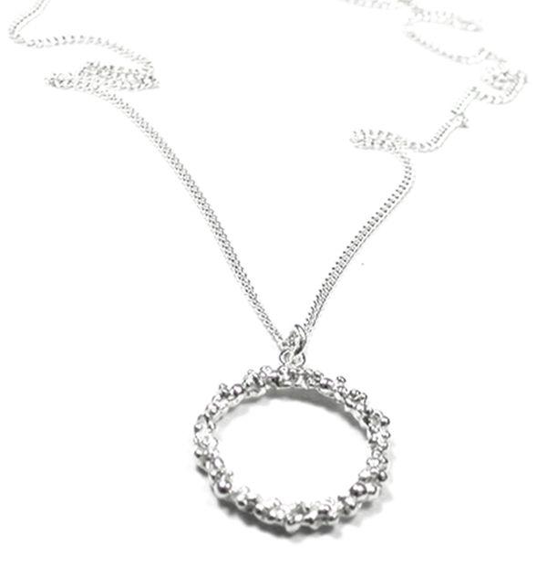 Silver Circle Drop Pendant