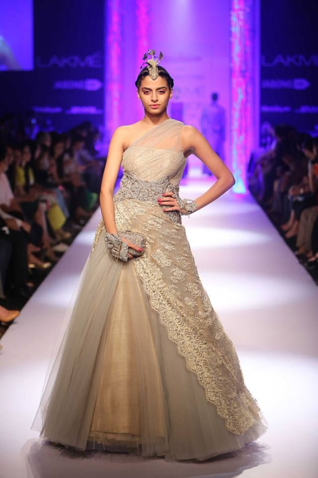 One shoulder Indian wedding gown by Shantanu & Nikhil at Lakme Fashion Week Winter 2014